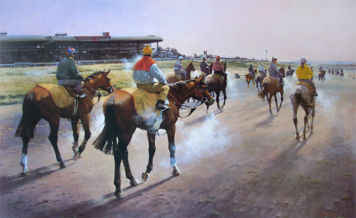 Frosty Morning On The Curragh Limited Edition Horse Racing Print By Peter Curling