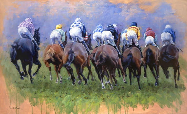 First Time Round Limited Edition Horse Racing Print By