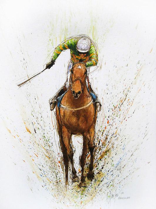 Binocular Ii Original Horse Racing Watercolour Painting By