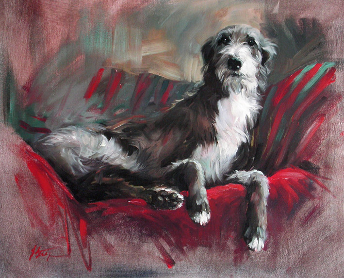 Robbie Limited Edition Lurcher Print By Canine Artist