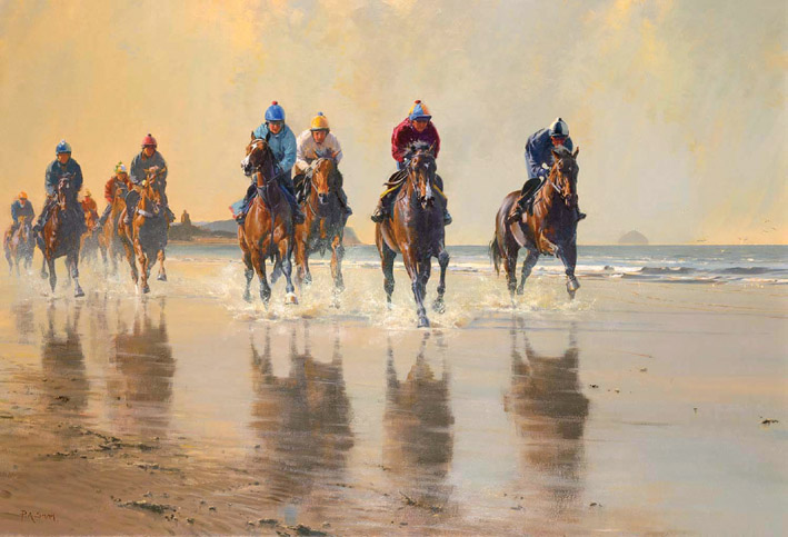 Gentle Work Beach Scene Limited Edition Horse Racing Print By Artist Peter Smith